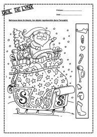Oeil De Lynx Noel Versteckte Bilder Weihnachtsarbeitsblatter Weihnachtsmalvorlagen