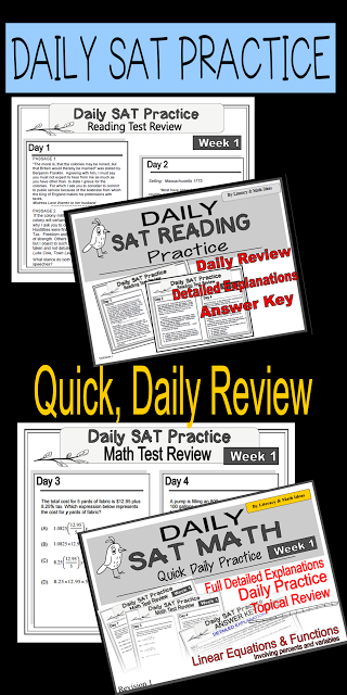 Daily SAT Reading and Math Practice~ Use this to review for