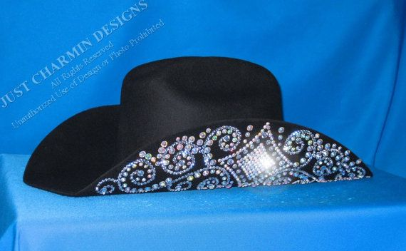 JCD- Just Charmin Designs- Crystal Bling Black Wool Western Cowgirl Cowboy  Hat Horse Show Shirt Rodeo Showmanship Barrel Racing on Etsy a24afaa8d7f
