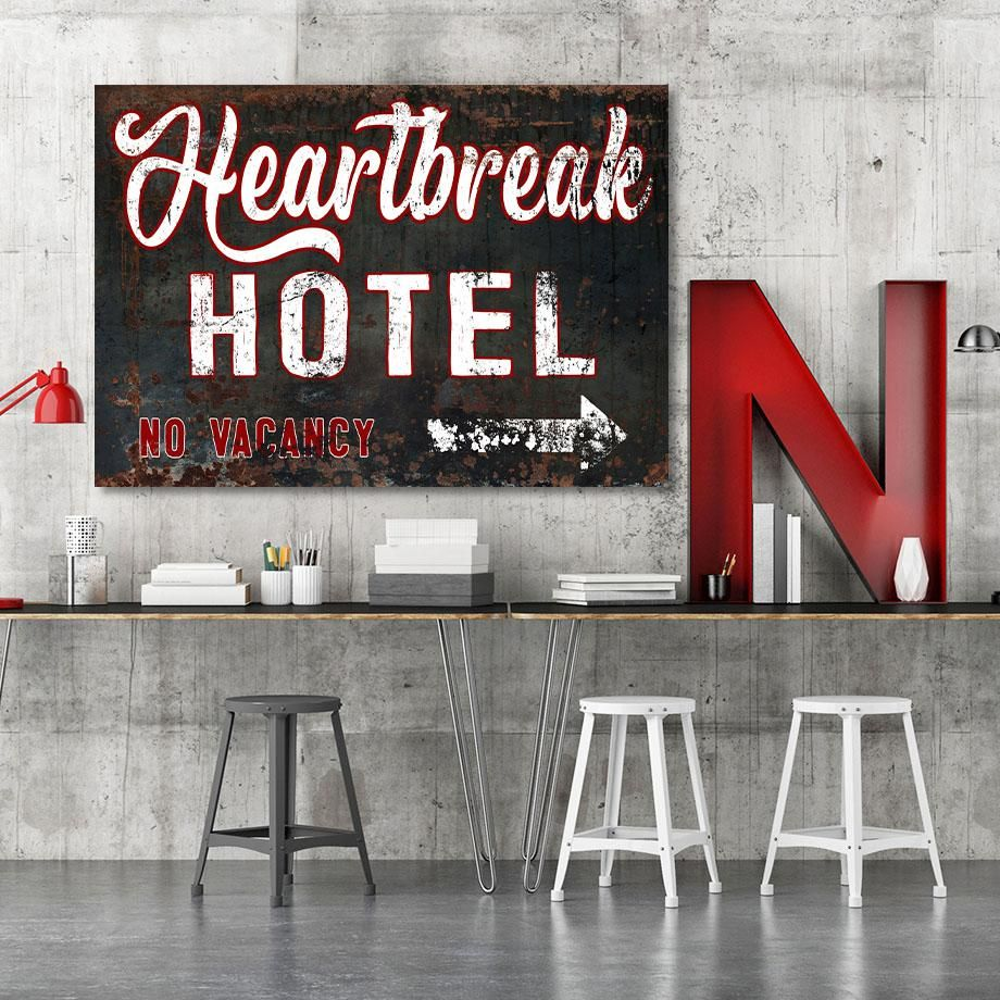 Heartbreak Hotel Vintage Sign Wall Art Metal Sign Style Canvas