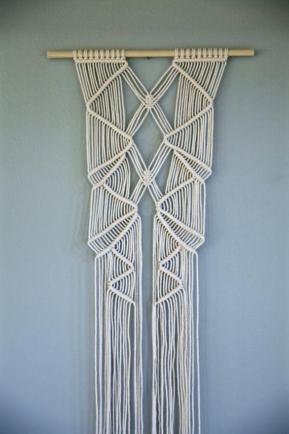 tenture murale de macram corde de coton blanc par bermudadream macram macram macrame diy. Black Bedroom Furniture Sets. Home Design Ideas