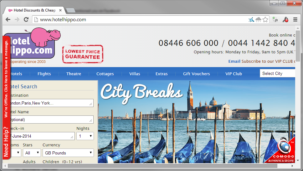 Terrible security on HotelHippo. Hotel booking website