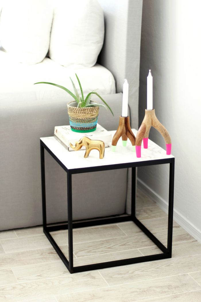 West Elm Inspired Marble Table Diy Marble Table Ikea Diy Ikea Nightstand