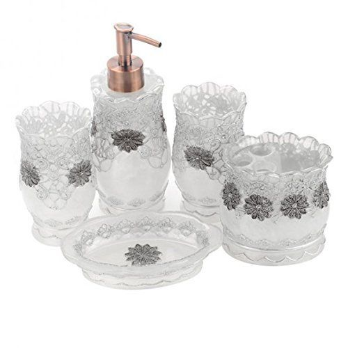 Luxury 5pcs Bathroom Bath Accessory Set 3d Decor Accessories