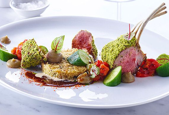 roasted rack of lamb with charred eggplant puree | Rack of lamb ...