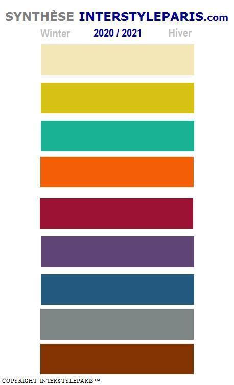 Synthèse gamme de couleurs pour l'hiver 2020/2021