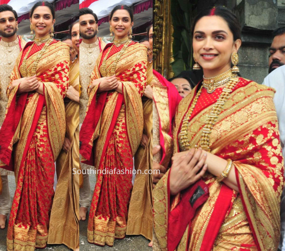 Deepika And Ranveer Visit Tirupati On Their 1st Marriage Anniversary Indian Bride Outfits Indian Bridal Sarees Red Saree Wedding