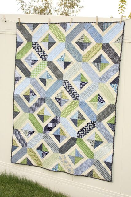 navy and green quilt