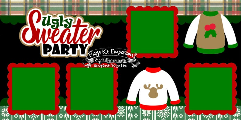 Scrapbook Page Kit Christmas Ugly Sweater Party Boy Girl 2 page Scrapbook Layout Kit 164