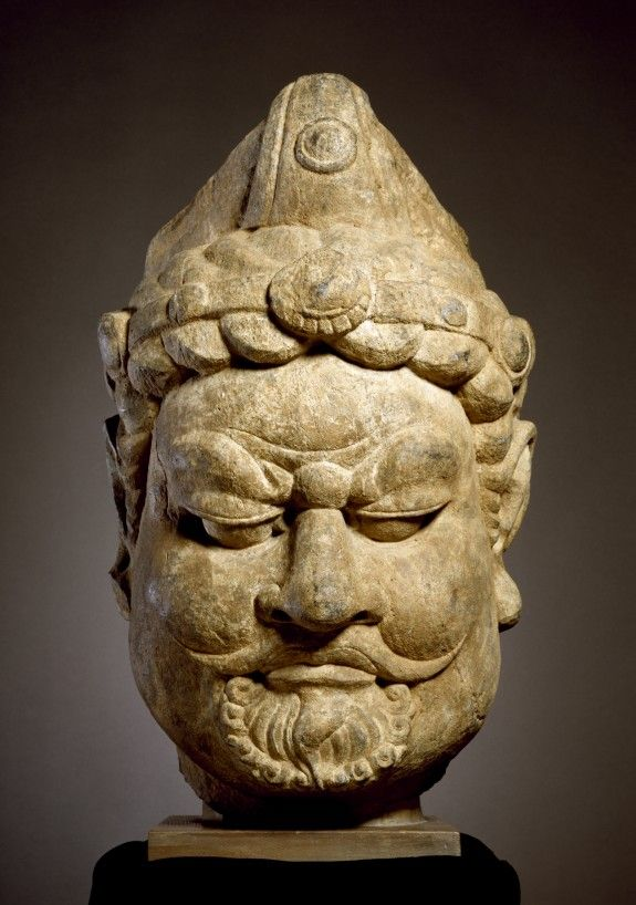 Asian Artifacts head of a guardian king,chinese,ca. 7th century. | asian artifacts
