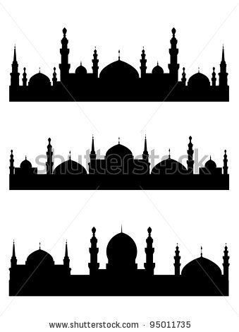 Mosque Silhouette Vector : mosque, silhouette, vector, Islamic, Silhouettes, Design., Vector, Illustration, Stock, Calligraphy,, Caligraphy, Calligraphy, Painting