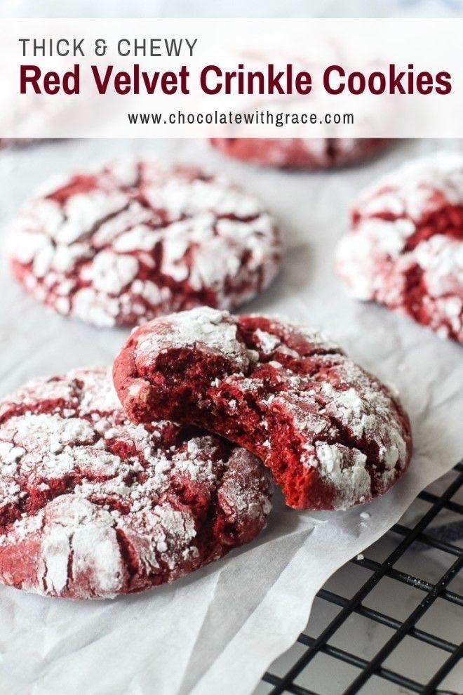 Red Velvet Crinkle Cookies aus einer Tortenmischung. Ein schneller und einfacher Weihnachtskoch ... #christmascookies