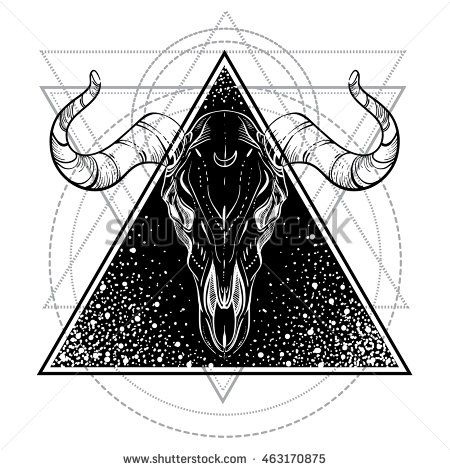 aaa6d0917df5d Blackwork tattoo flash. Bull Skull. Sacred geometry. Vector ...