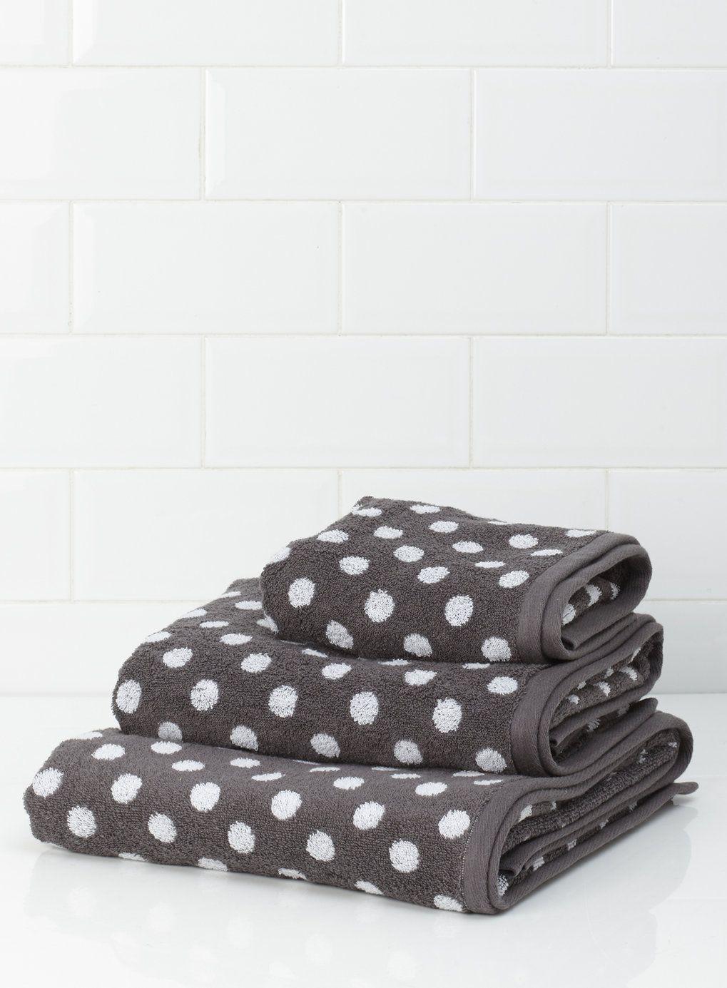 Grey Polka Dot Towel BHS New House Pinterest Hand Towels - Bhs monochrome word bath sheet bhs monochrome word hand towel