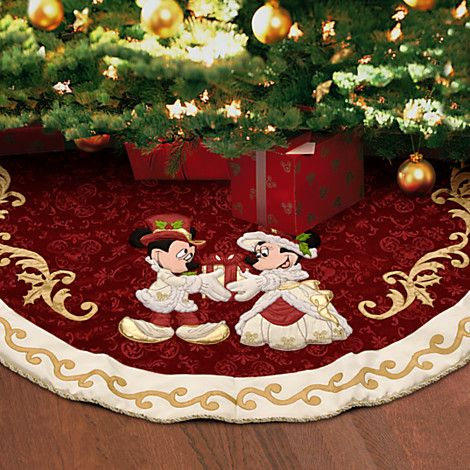 Minnie and Mickey Mouse Holiday Tree Skirt. Super cute! Too bad IT'S  $80.00!!! :0 - Minnie And Mickey Mouse Holiday Tree Skirt. Super Cute! Too Bad IT'S