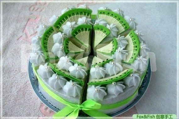 6-cut Kiwi fruit felt cake---PDF Pattern via email--F04