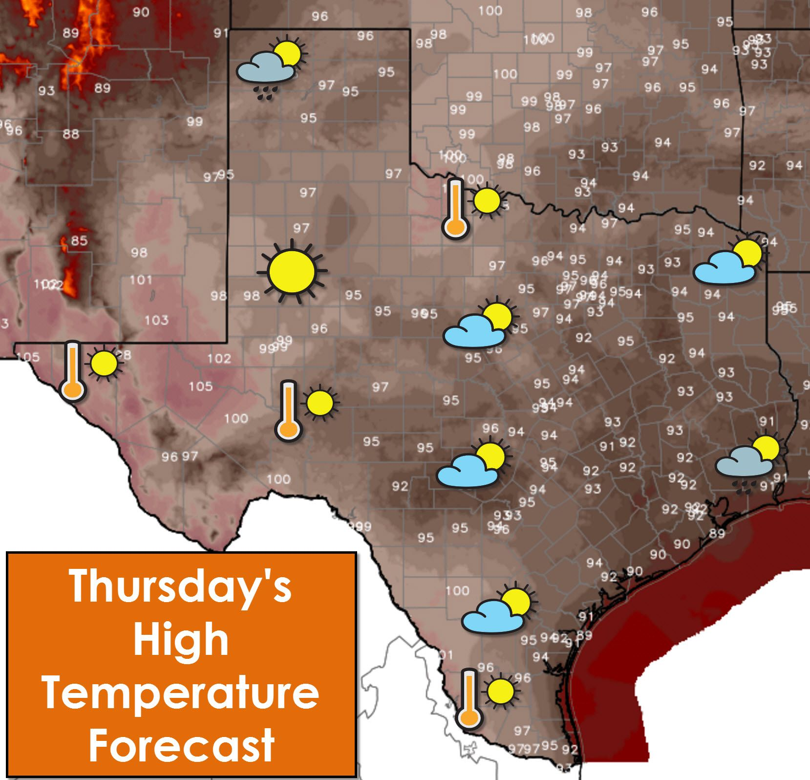 Temperatures in the 90s to low 100s are expected today - and for the foreseeable future across Texas. The good news is afternoon popcorn storms are back in the picture starting today and continuing into the weekend. Check out who will be lucky enough to get above 100° and who may get an afternoon cool off from a shower at http://texasstormchasers.com/?p=45548. #txwx