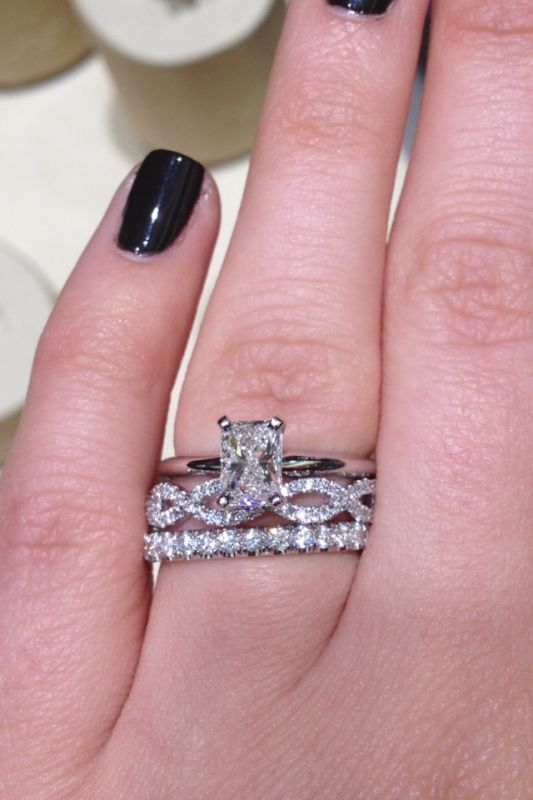 Show me your diamond wedding band with your solitaire e ring ...