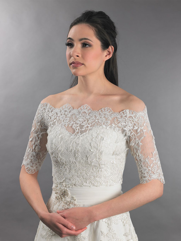 Off-Shoulder Bridal Bolero Wedding jacket dot lace WJ010   Pinterest ...