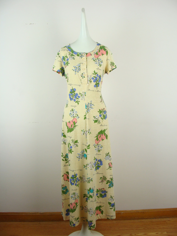 Vintage Garden Dress 70s Fruit Printed Stretch Knit Maxi Dress A Line Colorful Fun Spring Summer Honey California Boho Hippie Bohemian 1970s In 2020 Maxi Knit Dress 70s Dress Garden Dress