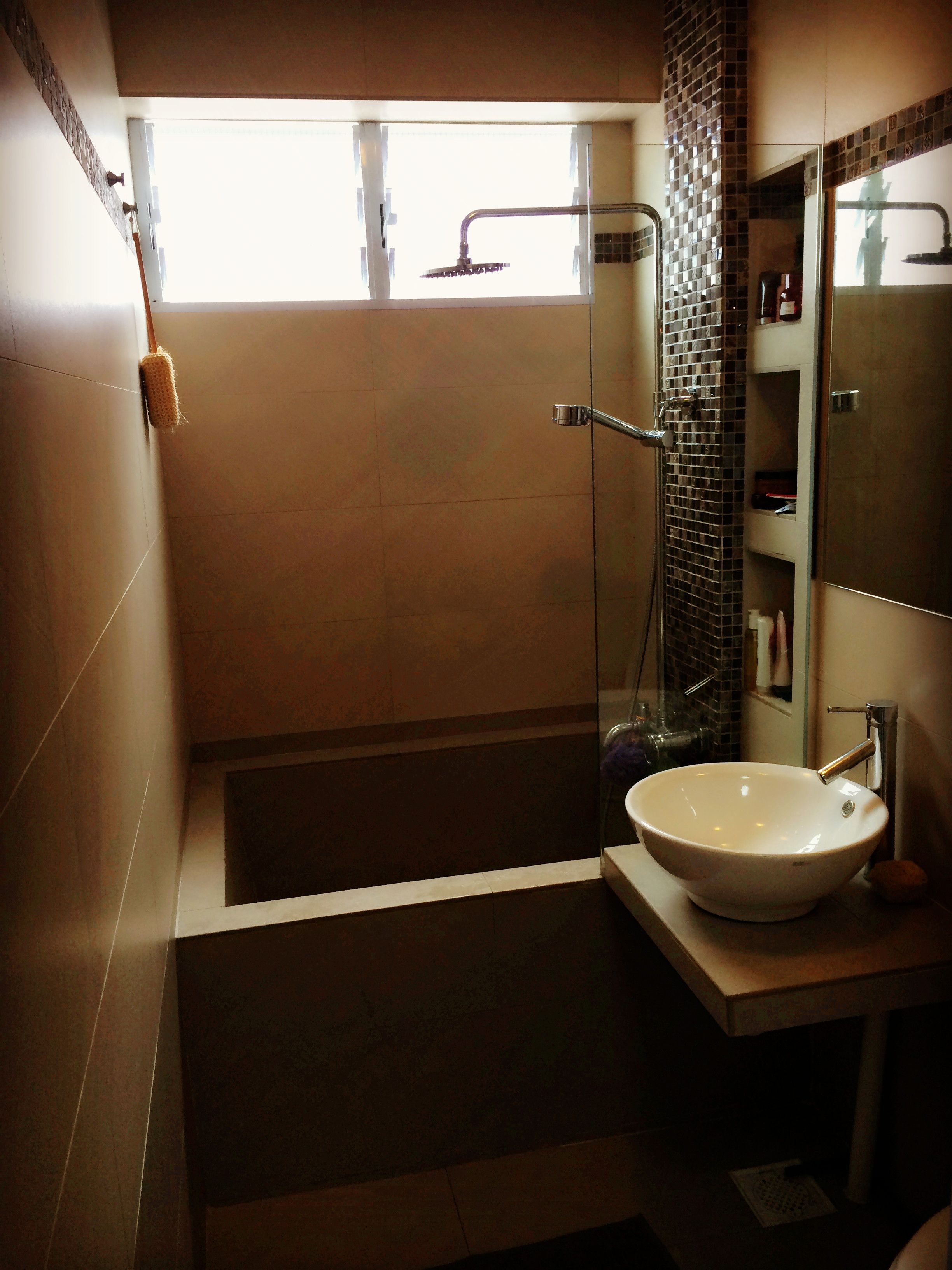 hdb bathroom concrete bathtub mosaic featurewall