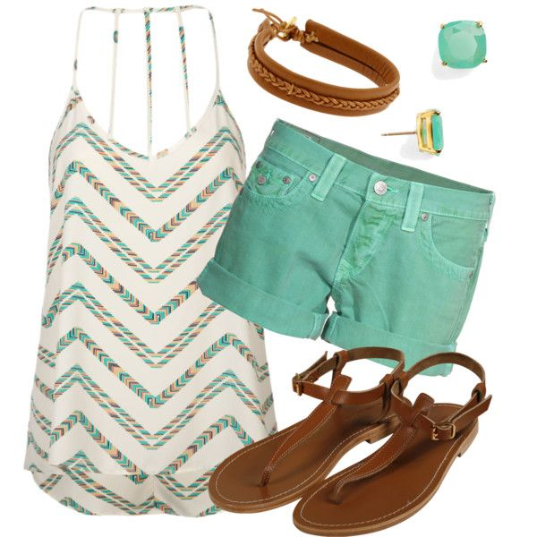 Sea Green & Chevron, created by qtpiekelso on Polyvore