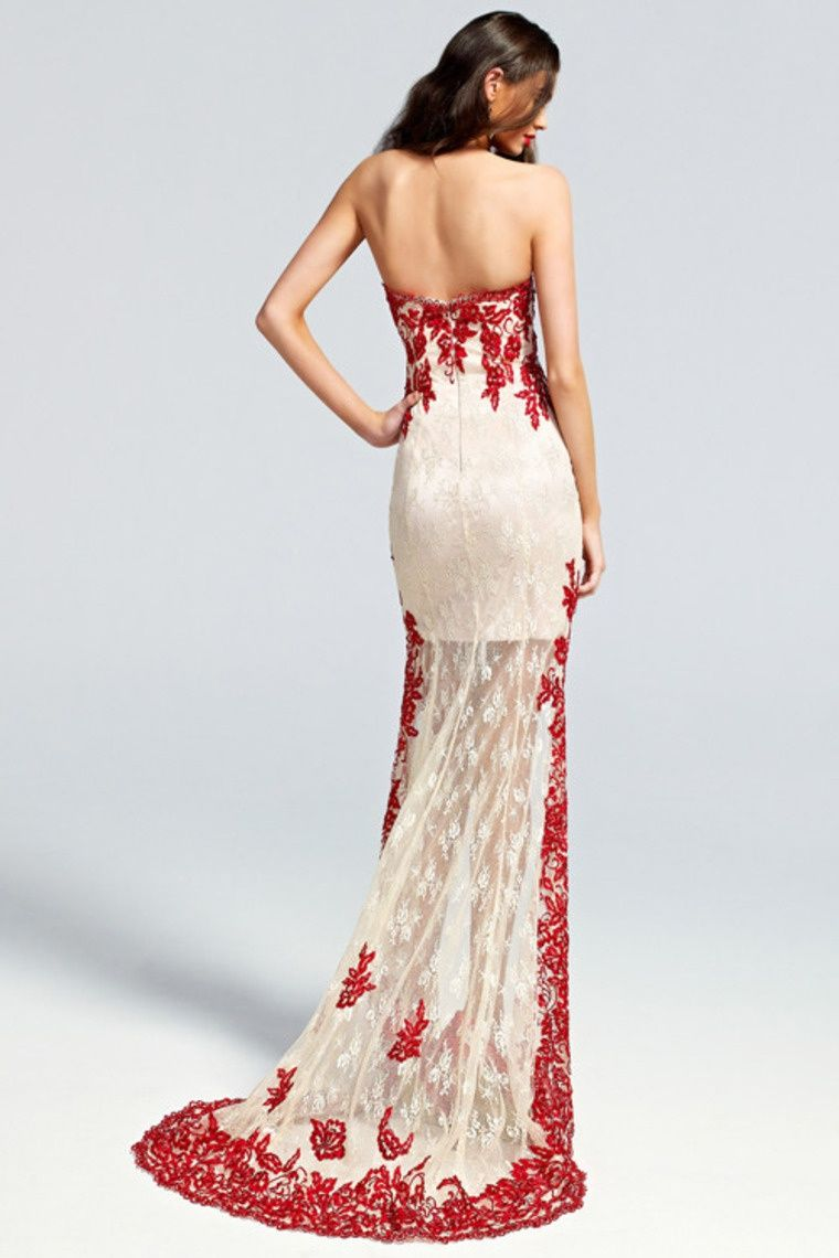 Start out searching for your perfect long maxi strapless white red