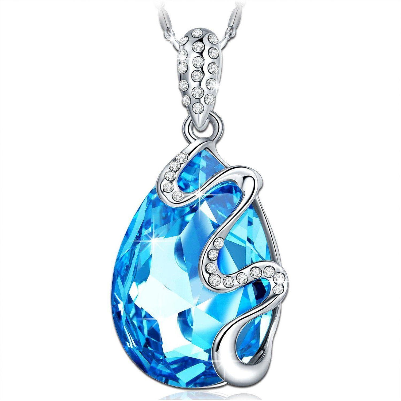 Qianse 'Venice Dream' Ocean Blue Pendant Necklace Made