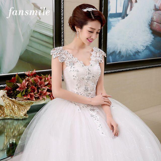 Fansmile Double Shoulder Sexy Lace  Crystal  Wedding  Dress Vintage Belt  Vestido De Noiva Plus Size Bridal Dress Free Shipping. Suknie ślubne f19e215dd00a