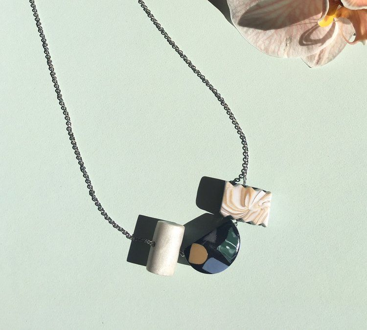 Remain Dual Necklace Black Marble Terrazzo Dual