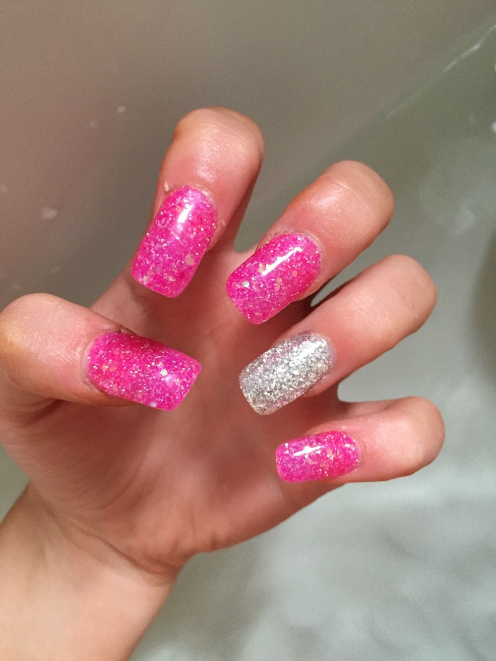 pink #silver #acrylic #nails #extensions #long | Nails | Pinterest ...