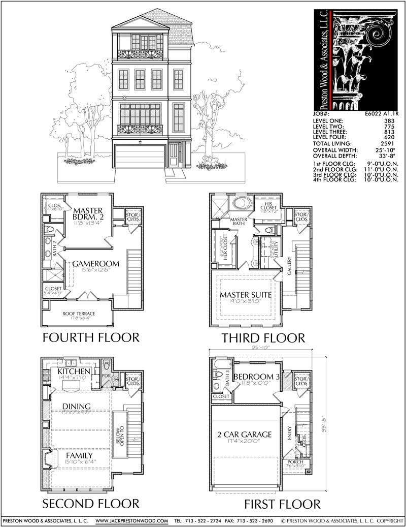 Four Story Townhouse Plan E6022 Town House Floor Plan Brownstone Homes Floor Plans