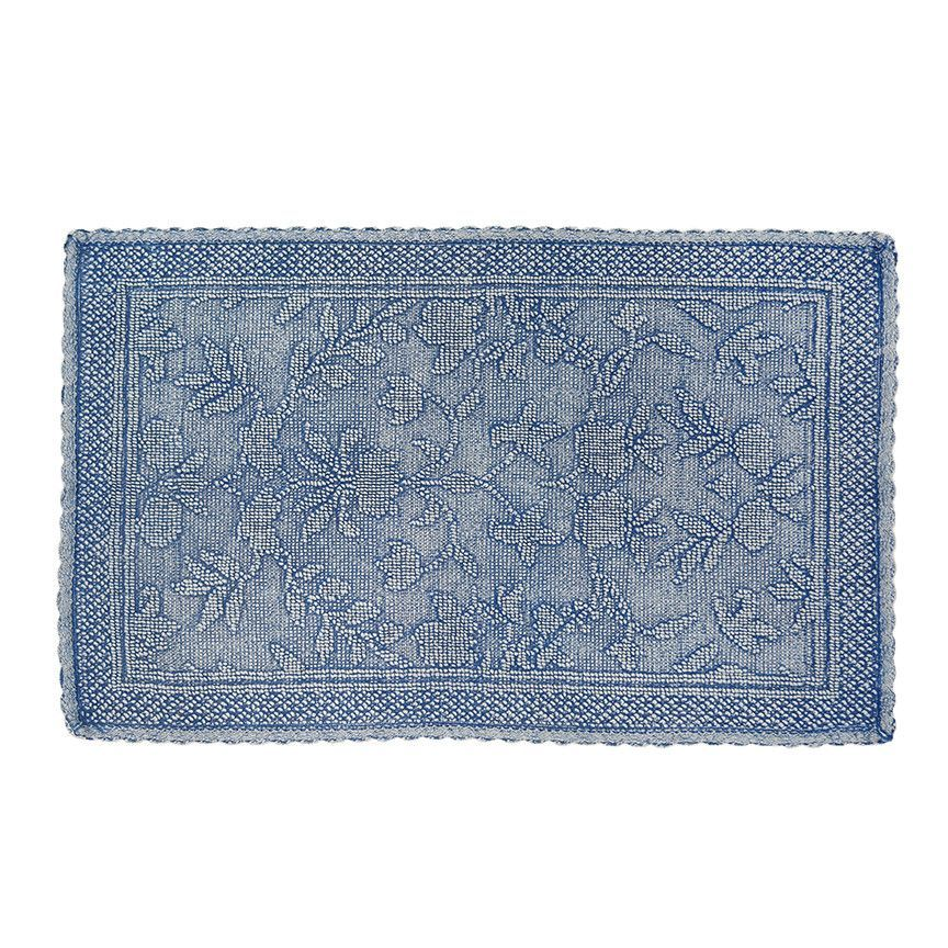 Floral Embroidery And A Delicately Crocheted Lace Trim Pair Together To Design The Nostalgically Elegant Rachel Floral Bath Rugs Blue Bath Mat Striped Bath Rug