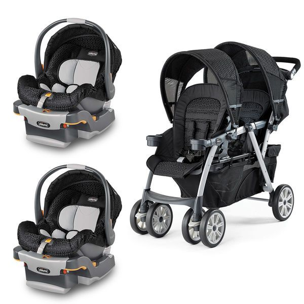 Chicco Cortina Together Double Stroller With Two KeyFit 30 Infant Car Seats In Black Fabric Geometric Pattern