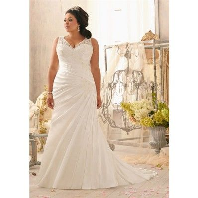 Mermaid V Neck Lace Satin Ruched Plus Size Wedding Dress With