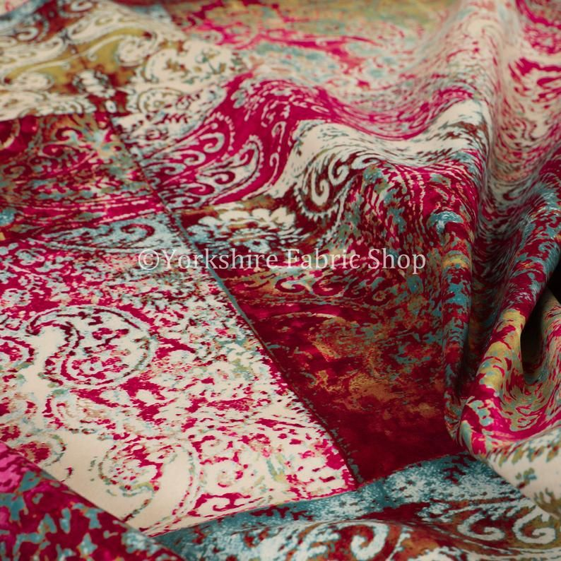 New Soft Printed Velvet Patchwork Damask Traditional Pattern Pink Upholstery Fabric - Sold By The 10 Metres Fabric