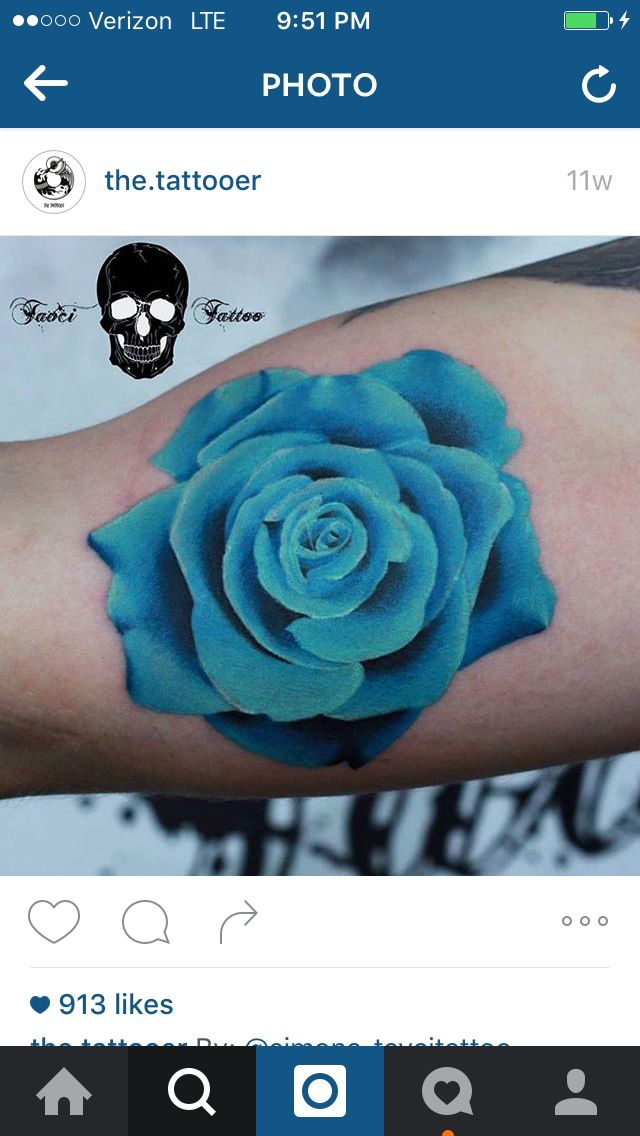 070eeea2d7d57 Light blue rose Rose Chest Tattoo, Rose Tattoo On Back, Mum Tattoo, Cover