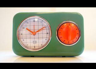 Retro Wanduhr Cube Flip Clock Uhr Küchenuhr Wecker Eieruhr Cube 60er 70er Design Bild