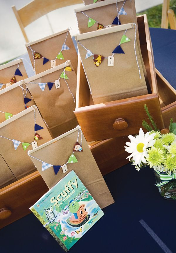 Little Golden Books wrapped with pretty little buntings as a party favour