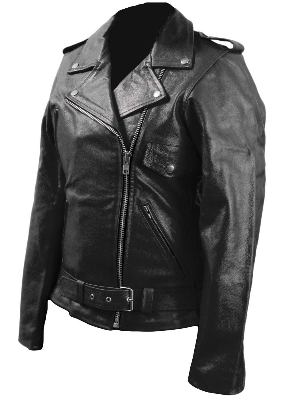 Leather Skin Women Black Brando Biker Motorcycle Genuine