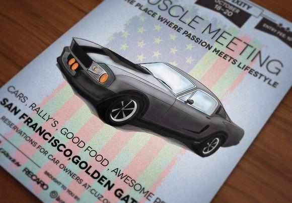 Retro Car Meeting Poster/ Flyer I by DigitavernShop on Creative Market