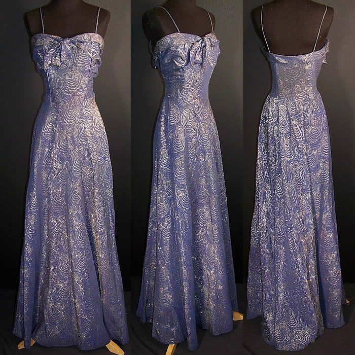 1940s Vintage Bombshell Blue Silk Silver Lamé Brocade Evening Gown Dress