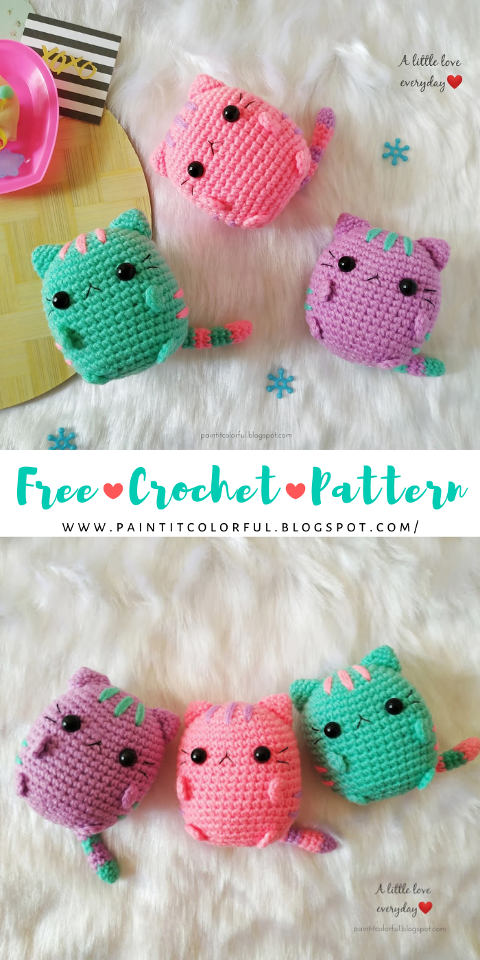 Pastel Pusheen Amigurumi pattern, Free Crochet Cat Pattern