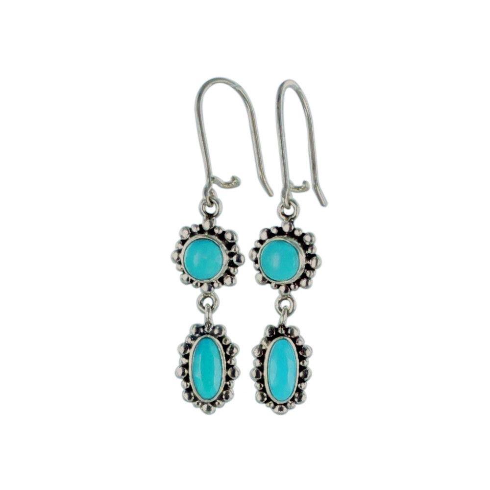 Sleeping Beauty Turquoise Earrings Sterling 6mm Long Hoop*NewWorldGems