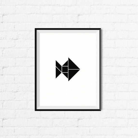 instant download  tangram fish  printable art art