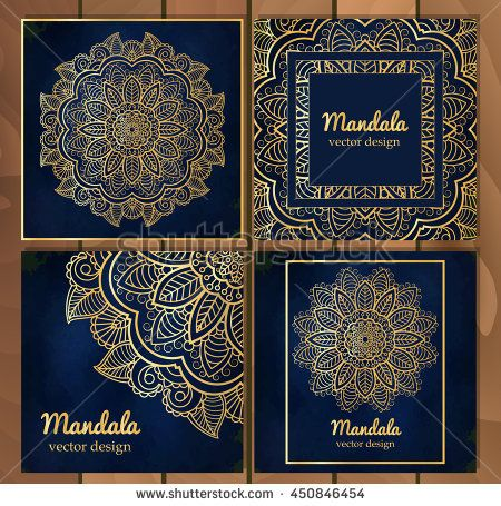 Set of Indian traditional flower mandala ornament illustration - fresh invitation banner vector