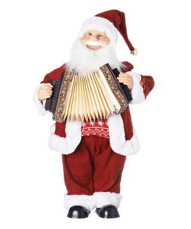 Singing 'Deck the Halls' Accordion Santa Figurine #zulily #zulilyfinds | Christmas figurines ...