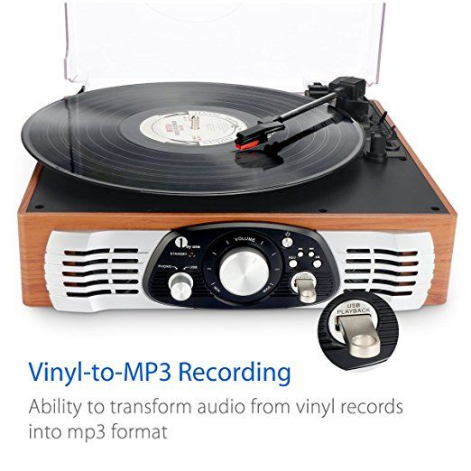 Amazon.com: 1byone Belt-Drive 3-Speed Stereo Turntable with Built in Speakers, Supports Vinyl to MP3 Recording, USB MP3 Playback, and RCA Output, Natural Wood: Home Audio & Theater
