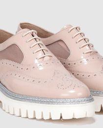 8bfebd77 Zapatos de cordones de mujer Pertini de piel con rejilla transparente