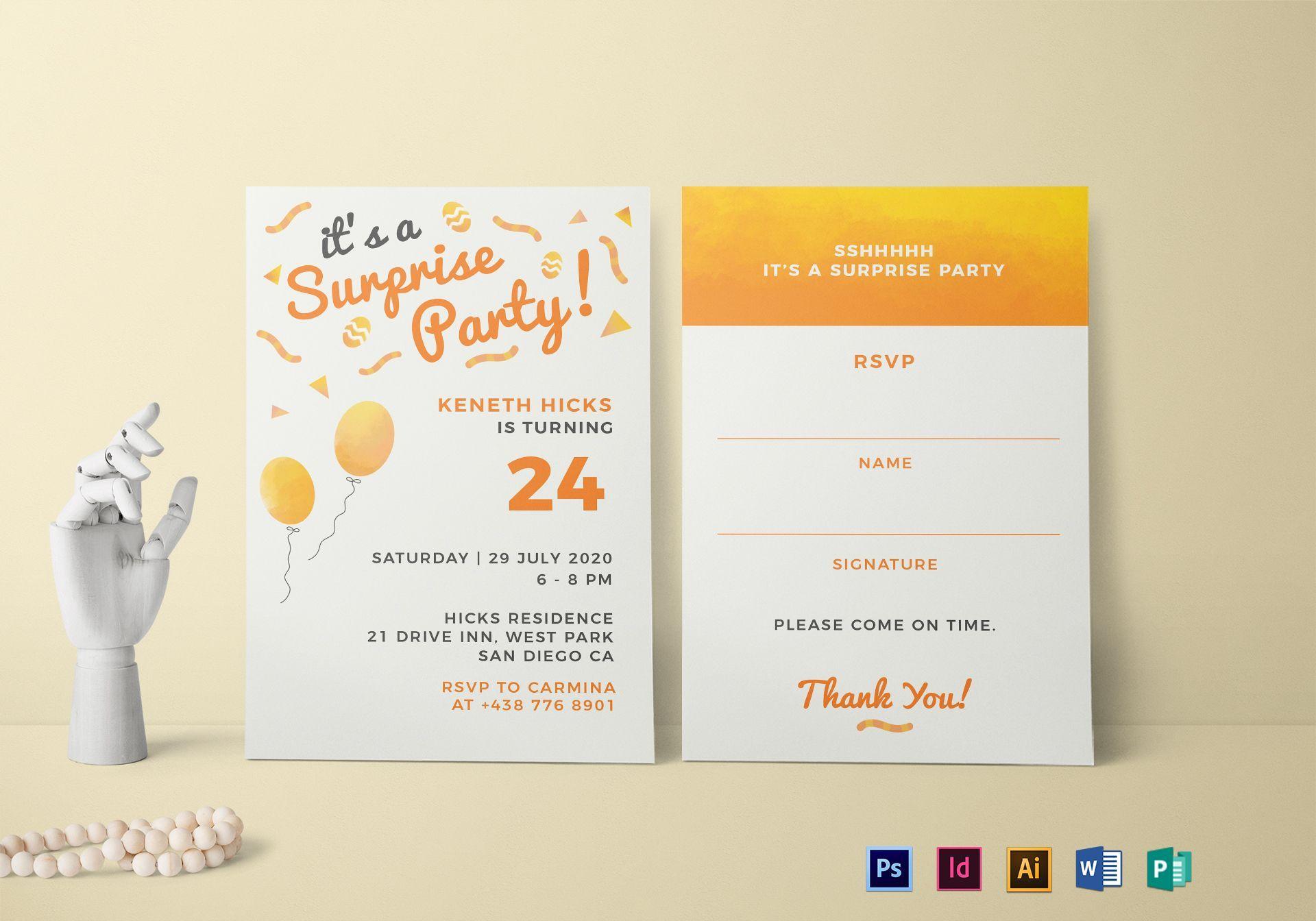 Surprise Birthday Party Invitation Template  Party invite